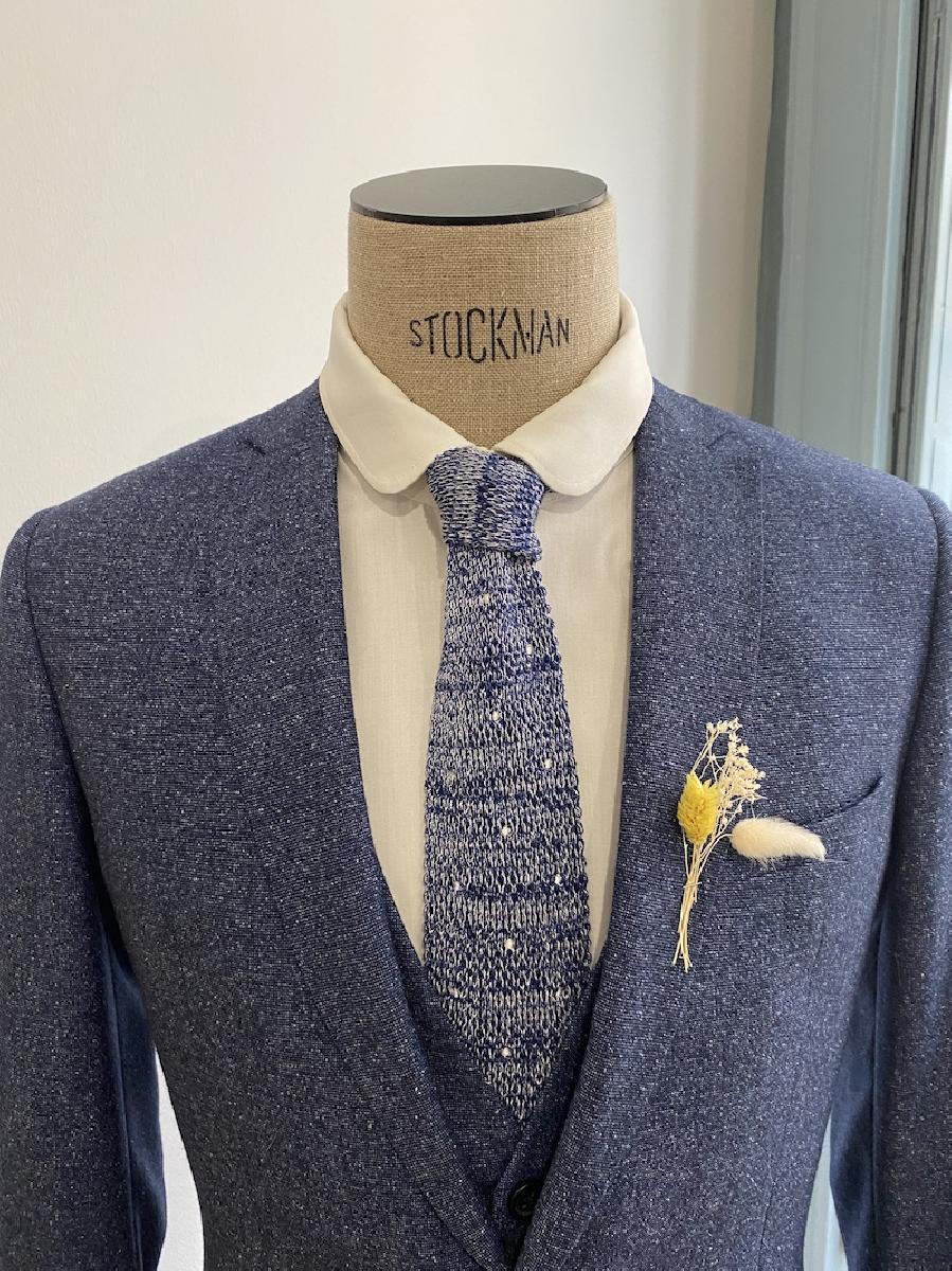 Pour Lui Beau. : Modèle Cravate à poids bleu chiné