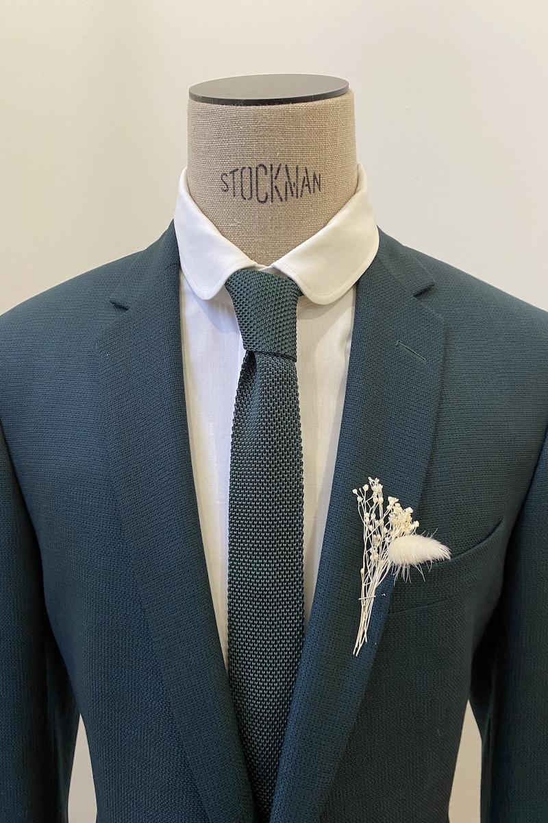 Pour Lui Beau. : Modèle Cravate verte en tricot de soie